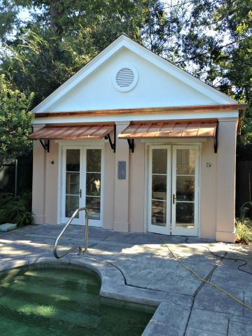 These are the Classic Copper Door Awnings on pool house in ...