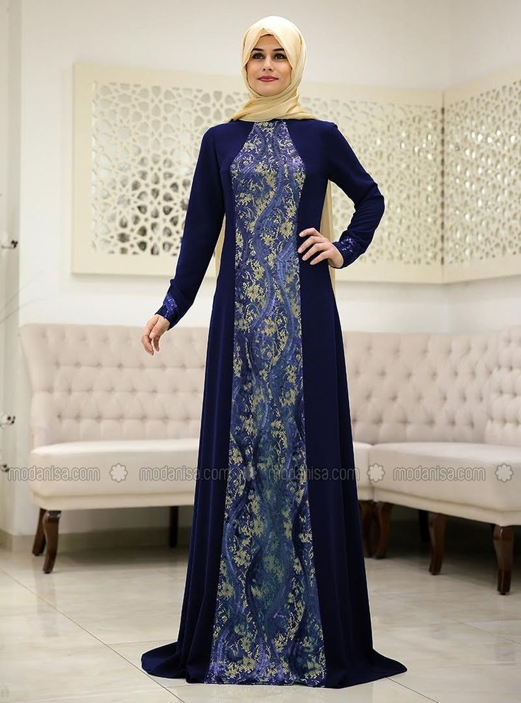 Damla Evening Dress - Navy Blue - SomFashion