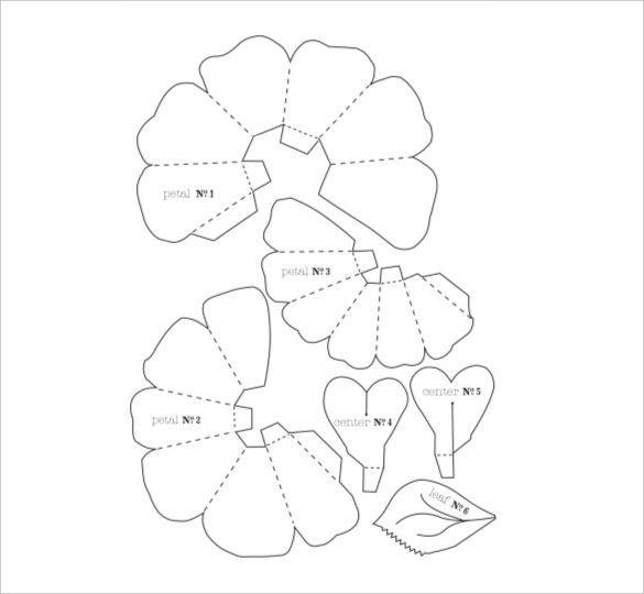Pdf Vector Eps Free Premium Templates Modeles Fleurs De Papier Modele De Fleur Rose En Papier