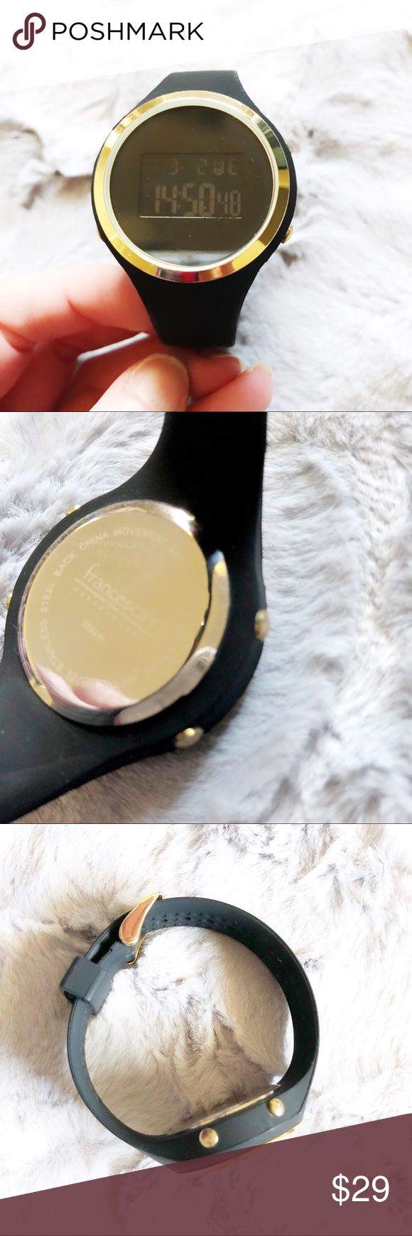 Francesca's Collection digital black gold watch Make an offer! In excellent condition. Currently showing military time and I haven't messed with it to try to change it. Lights up as shown, shows the date and has a stopwatch timer. No trades. Bundle and save - I'm a fast shipper! Francesca's Collections Accessories Watches