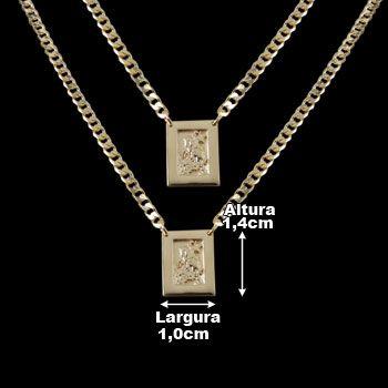 Escapulário de Prata São Jorge com Banho de Ouro.