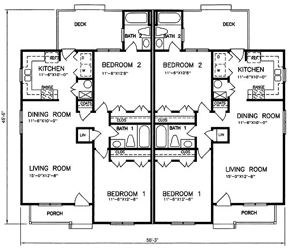 First floor plan of multi family plan 45360 small enough for Multi family apartment floor plans