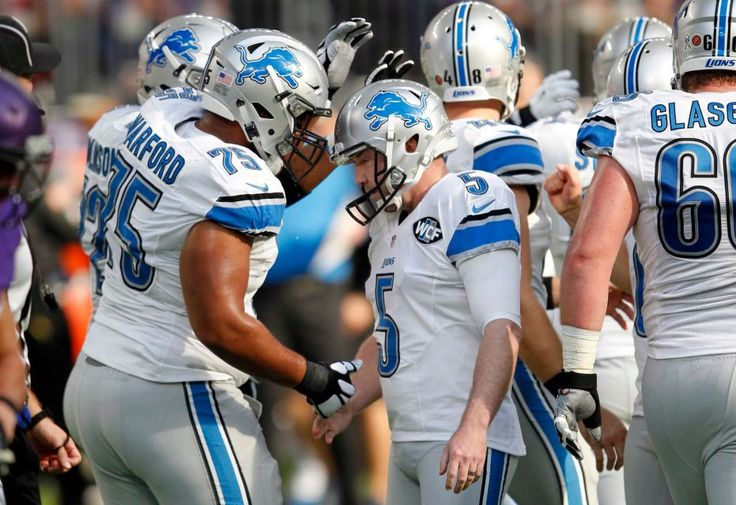 Lions vs. Vikings:  22-16, Lions  -  November 6, 2016  -    Detroit Lions kicker Matt Prater (5) celebrates with teammate Larry Warford (75) after making a 47-yard field goal during the first half of an NFL football game against the Minnesota Vikings, Sunday, Nov. 6, 2016, in Minneapolis.