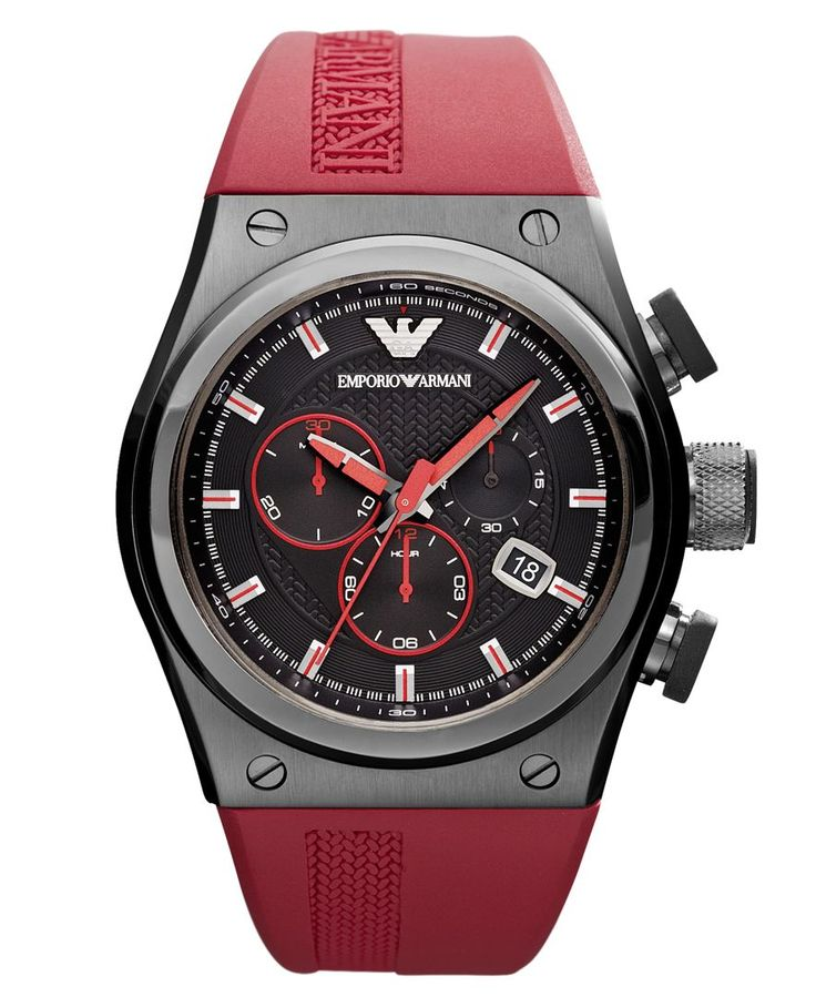 Emporio Armani Watch, Men's Chronograph Red Rubber Strap 48x44mm AR6105