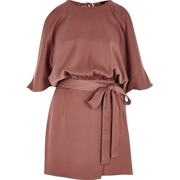 River Island Copper tie waist cold shoulder playsuit ($56) via Polyvore featuring jumpsuits, rompers, brown, playsuits, overlay romper, red romper, brown romper, playsuit romper and river island