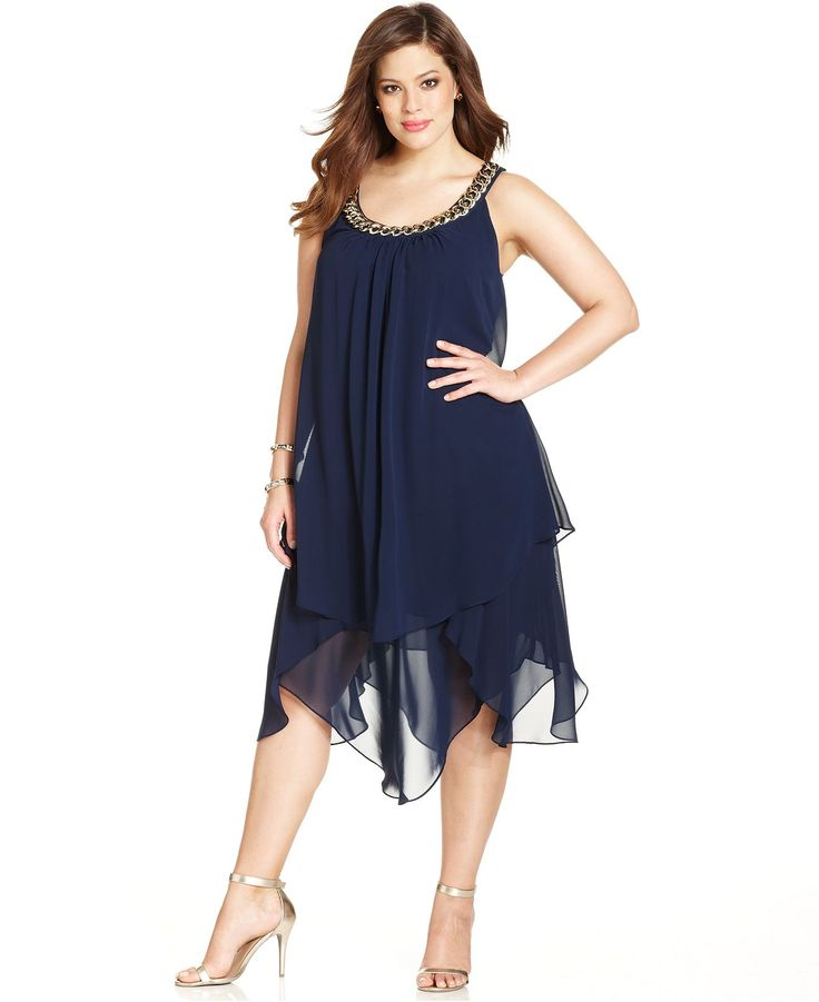 SL Fashions Plus Size Sleeveless Tiered Shift - Plus Size Dresses - Plus Sizes - Macy's