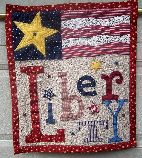 Liberty Patriotic Quilted Wall Hanging (posted to etsy by SandRDesignWorks)