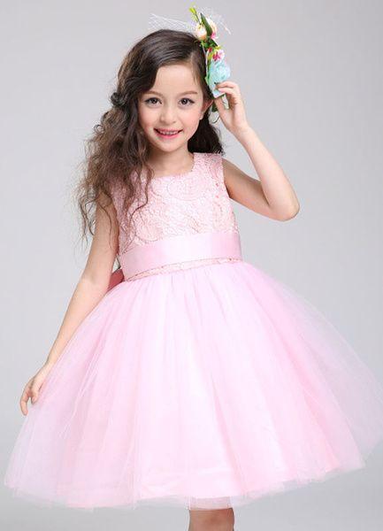 Flower Girl Dress Lace Princess Tutu Dress Tulle Knee Length Pink Toddler's Pageant Dress