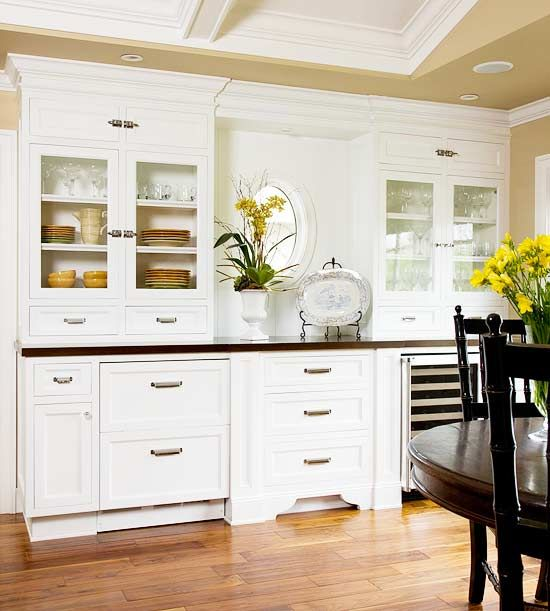 Consistent Design  The same style of moldings repeats throughout the house. The homeowners worked with a cabinet designer to match the moldings and trimwork in every room for a consistent, polished look and easy flow between spaces.