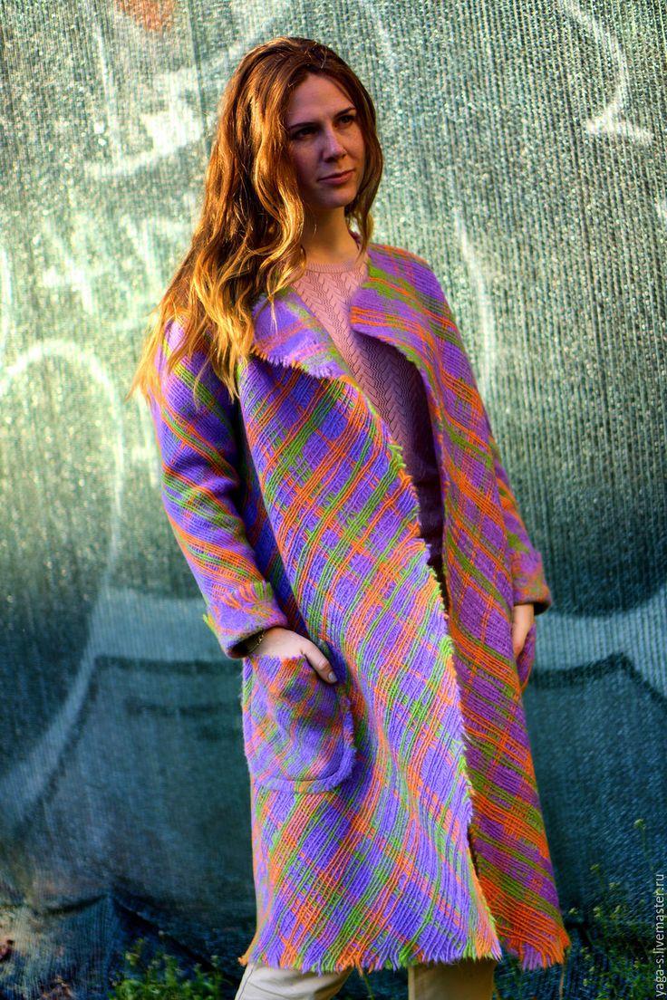 """Купить Летнее пальто - кардиган """"Сирень. Клетка""""  пальто женское, Пальто ручной работы"""