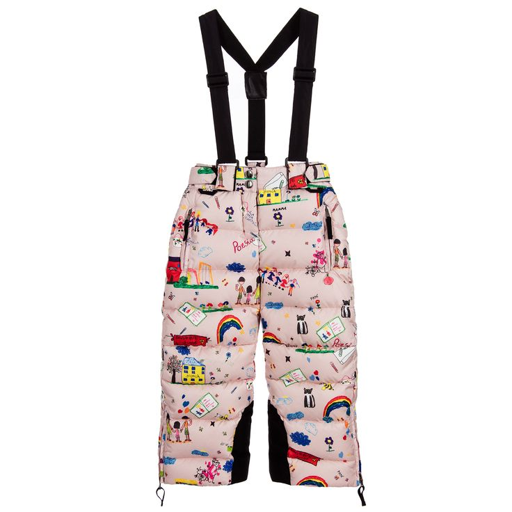 Girls pink salopettes by Dolce & Gabbana. Made in silky smooth polyester, they feature a colourful all-over 'Back to School' print. Thickly padded with a combination of soft down and feathers, they are super warm to wear. They fasten at the back with poppers and a zip, and the waist is partly elasticated at the front with velcro adjusting straps at the sides. The removable shoulder straps are adjustable and the ankles have zips and inner gaiters with poppers and velcro to fit over...