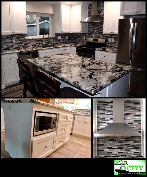 This remodel in Santa Margarita started off as a kitchen water damage but quickly grew into a kitchen, dining room and living room remodel. The kitchen layout was completely changed to make it have a better flow and much more functional.     #ChimneyRangeHood #GlassTileBacksplash #BrushedNickel #WoodFloorTile #ShakerCabinets #GraniteCountertop #BerryConstructionAndRestoration #BerryConstruction #RestoringTheAmericanDream