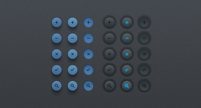 These are a simple set of buttons that includes two versions with 5 elements each for you to use however you'd like. The layered PSD file is included (duh) and all elements are in vector format so you can re-scale if needed/wanted so. http://www.purtypixels.com/sexy-button-rounds/ #ui #buttons #round #circle #design #webdesign