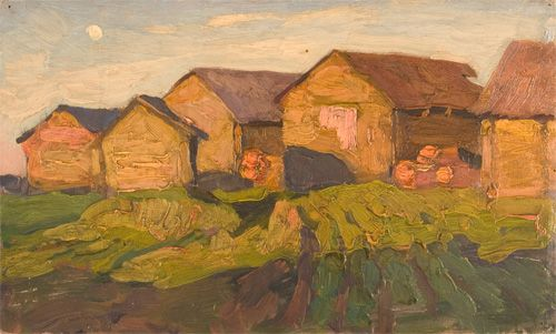 Nikita  Fedosov  Warm Evening  8 5/16 x 13 11/16 inches  Oil on Panel  Date Painted: 1960's  Framed