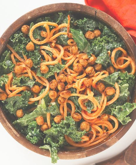 Vegan Kale and Sweet Potato Noodle Caesar Salad with Crispy Spiced Chickpeas from Inspiralized