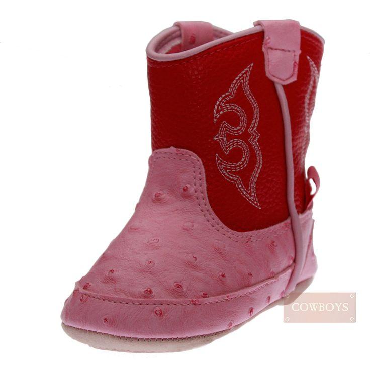 Bota infantil Baby Buckers de couro legítimo rosa. Couro semelhante a couro de avestruz, cano com velcro, forro macio para conforto, solas antiderrapantes e fecho de velcro para fácil ajuste do bebe. Além de muito lindas, as Botas infantis Baby Buckers são de alta qualidade. Ideal para  Cowgirls que desde pequenas adoram esbanjar estilo nas festas de rodeio e também estar super na moda da fazenda. Nas épocas mais frias é ideal para ficar com os pezinhos aquecidos.