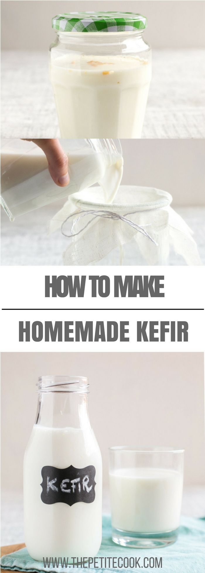 Homemade Milk Kefir is super easy to make and full of good-for-you probiotics. Drink kefir straight-up, added to smoothies, or use it in place of yogurt/buttermilk/milk when baking cakes, muffins or pancakes. Recipe by The Petite Cook