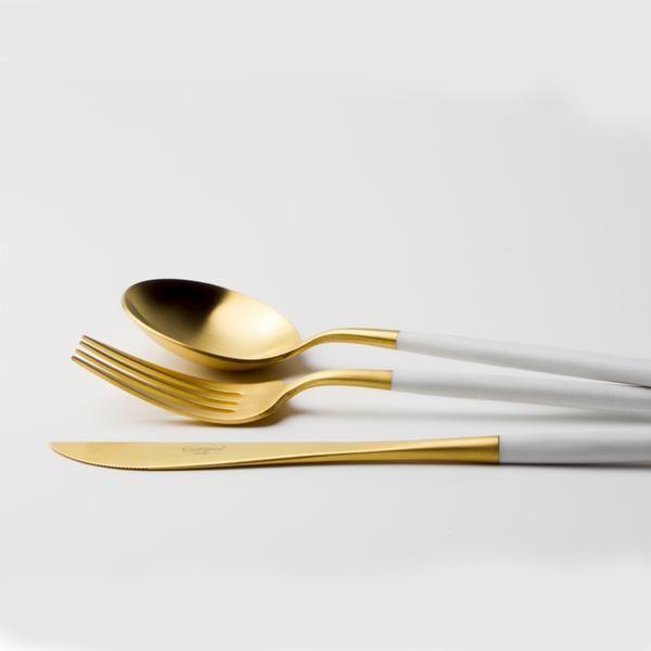 Matt White Gold 24 Piece Cutlery Set http://shop.thecoolhunter.net/index.cfm/catalogue/homewares/