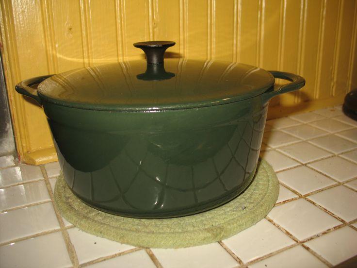 Vintage casserole en fonte emaillée vert foret Cousances fabriquer en France #18 de la boutique NorDass sur Etsy