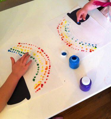 Fingerprint rainbow craft for St. Patrick's Day