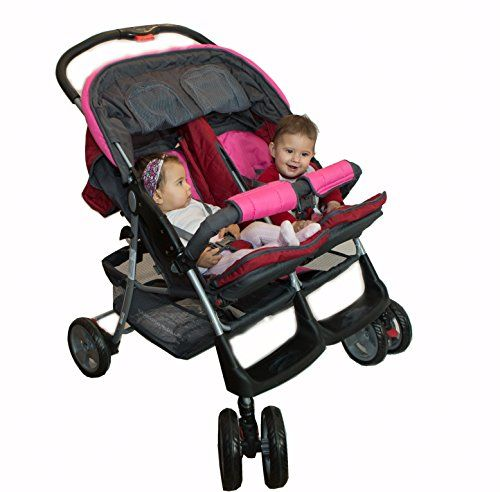 Lujoso tandem-cochecito para gemelos rosa - BambinoWorld  #maternidad