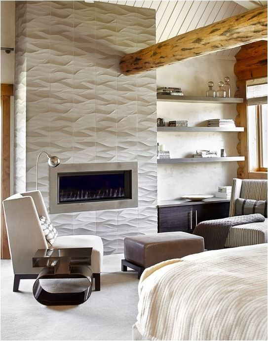 Wave Tile To Ceiling Bedroom Fireplace Log Home