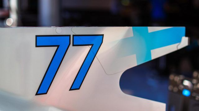 The race number and rear fin detail of Valtteri Bottas (FIN) Mercedes-Benz F1 W08 Hybrid at Formula One World Championship, Rd9, Austrian Grand Prix, Preparations, Spielberg, Austria, Thursday 6 July 2017. © Sutton Images