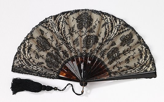 Fan  Mor Weisz (Austrian)  Date: 1895–1910 tortoiseshell, silk, cotton, paper Dimensions: 9 3/4 in. (24.8 cm) Brooklyn Museum Costume Collection at The Metropolitan Museum of Art