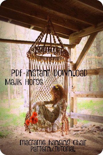 Vintage Look Macrame Hanging Hippie Chair von majikhorsefabrics