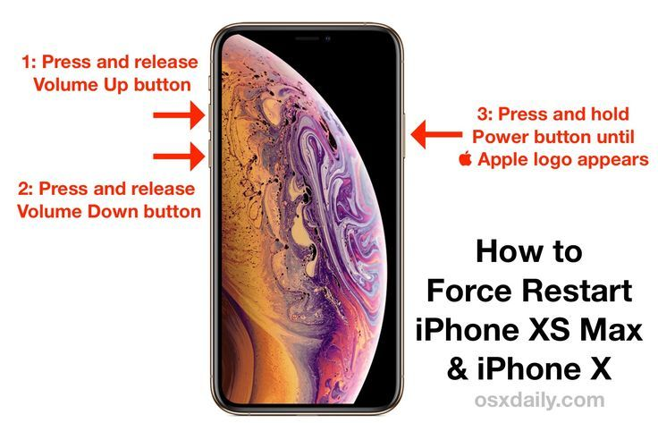 How To Force Restart Iphone Xs Max And Iphone Xs Iphone Iphone Info Iphone Apps