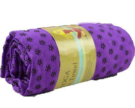 Yoga Mat Towel Non-slid Skid Resistance Thicken Widen Anti-slip Injury Free Mat-sized Super Absorbent Fitness Exercise Travel Sport Towels Hot Yoga Bikram Yoga Blanket Carpet Silicone Plum Flower Spot with Mesh Bag (Purple)