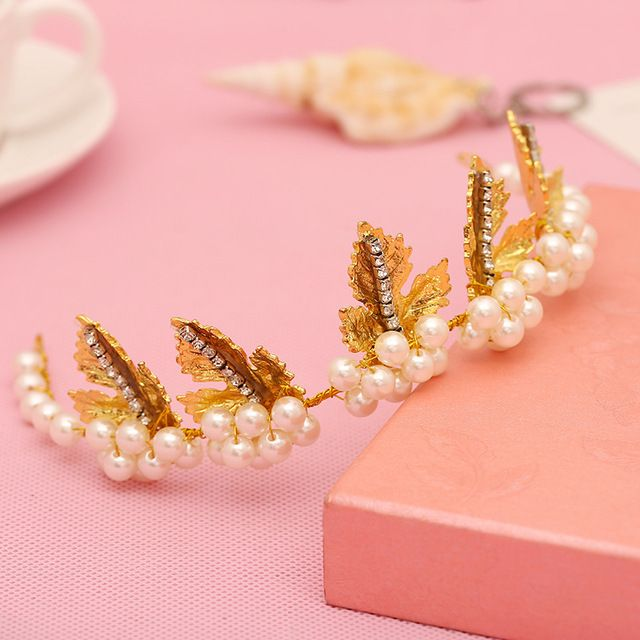Novas mulheres pérola Barroca deixa faixas de cabelo de Ouro Coroa de noiva tiara acessórios de cabelo da moda jóias de casamento do partido dos miúdos presente