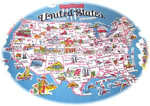 Vintage Usa Maps 1950s Vintage Style Souvenir Tablecloth Usa United States Map