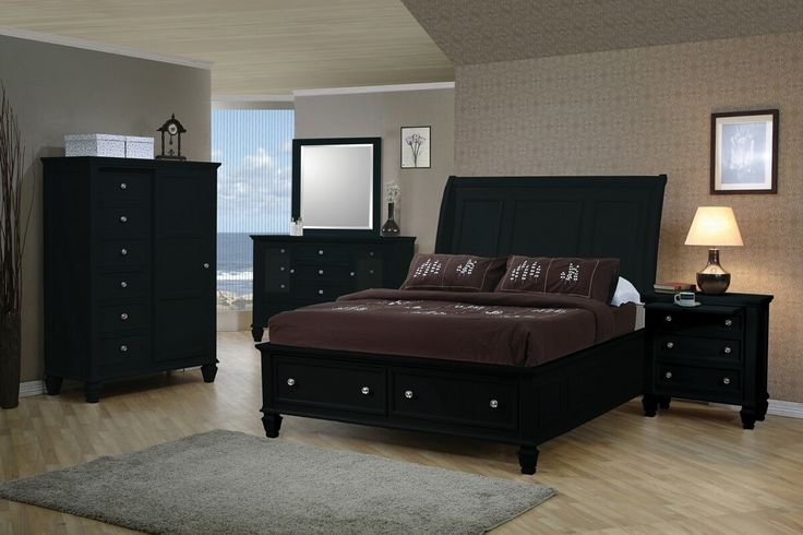 5 Pc. Casual Style Sandy Beach Black Wood Finish Queen Platform Bedroom Collection