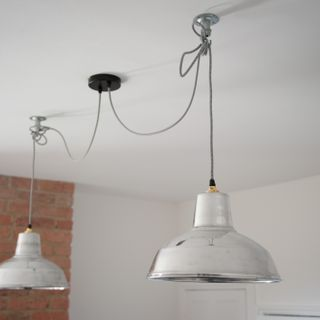 Swagged Pendant Lamps Over Dining Table With Dual Outlet Rose 2 Tone Fabric Flex Galvanised