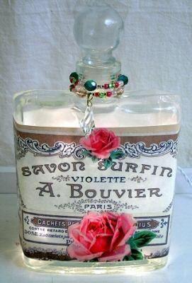 #7 Rose Collage Perfume Bottle Nightlight ( Night Light ) - Roses And Teacups