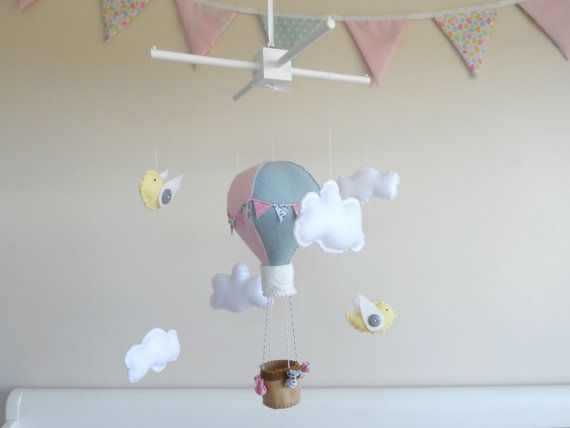 Up Up Up and Away Hot Air Balloon Baby Mobile with by MaisieMooNZ