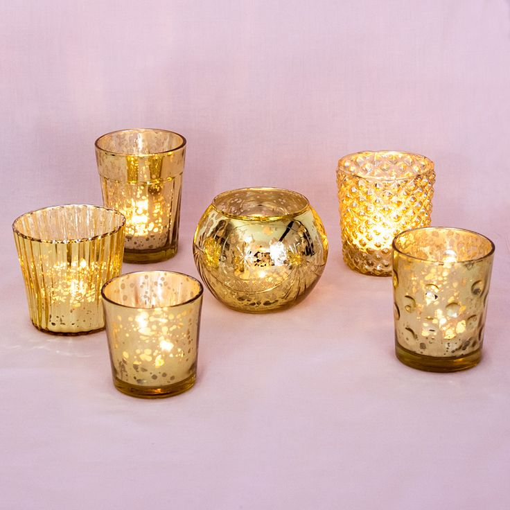 Best of Mercury Glass Candle Holders- (Set of 6) Gold- A great mix of some of our most popular candle holders!