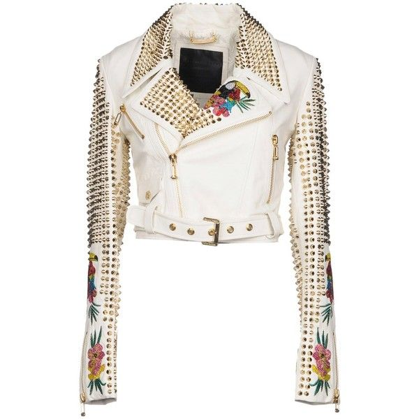 Philipp Plein Jacket ($3,070) ❤ liked on Polyvore featuring outerwear, jackets, white, white jacket, white leather belt, leather belts, multi pocket jacket and philipp plein jacket