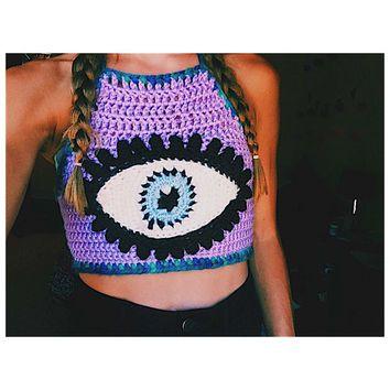 Unique Crochet Crop Top - Third Eye - Festival Top - Evil Eye - Customizable - Handmade Crochet Top - Bikini Top