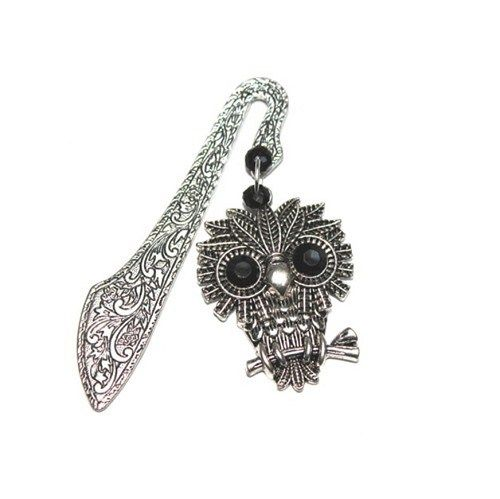 The original tab for books. Owl made of Tibetan silver, black eyes studded with crystals.  The amount of overlap: approx. 8cm Size owls: Approx. 4cm@ artfire