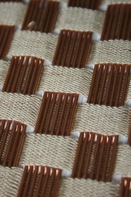 copper weaving - textile design by Sarah Poley