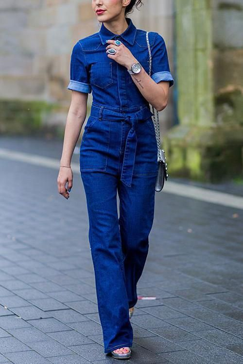 30f84bfaca8 This stretchy denim jumpsuit has a sexy two-piece look with a tight denim  jacket