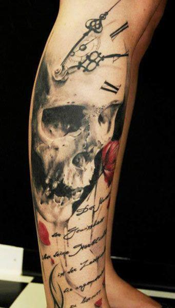 Tattoo Artist - Florian Karg - skull tattoo   www.worldtattoogallery.com