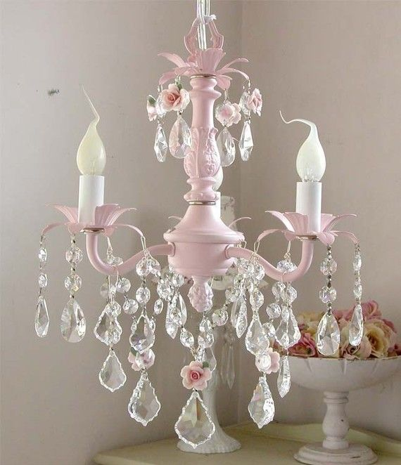 Darling PINK 3light baby chandelier with roses by gingerschoice, $179.00