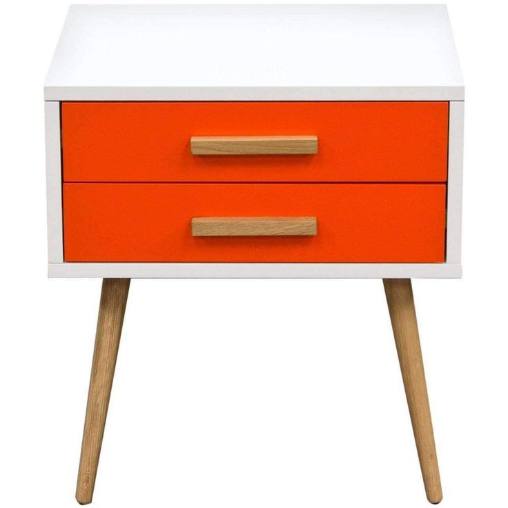 Tangent 2-Drawer Accent Table w/ White Top, Orange Drawers & Oak Legs by Diamond Sofa