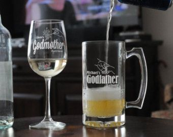 Tall Wine Glass for Godparents Godfather by GodparentBaptismGift