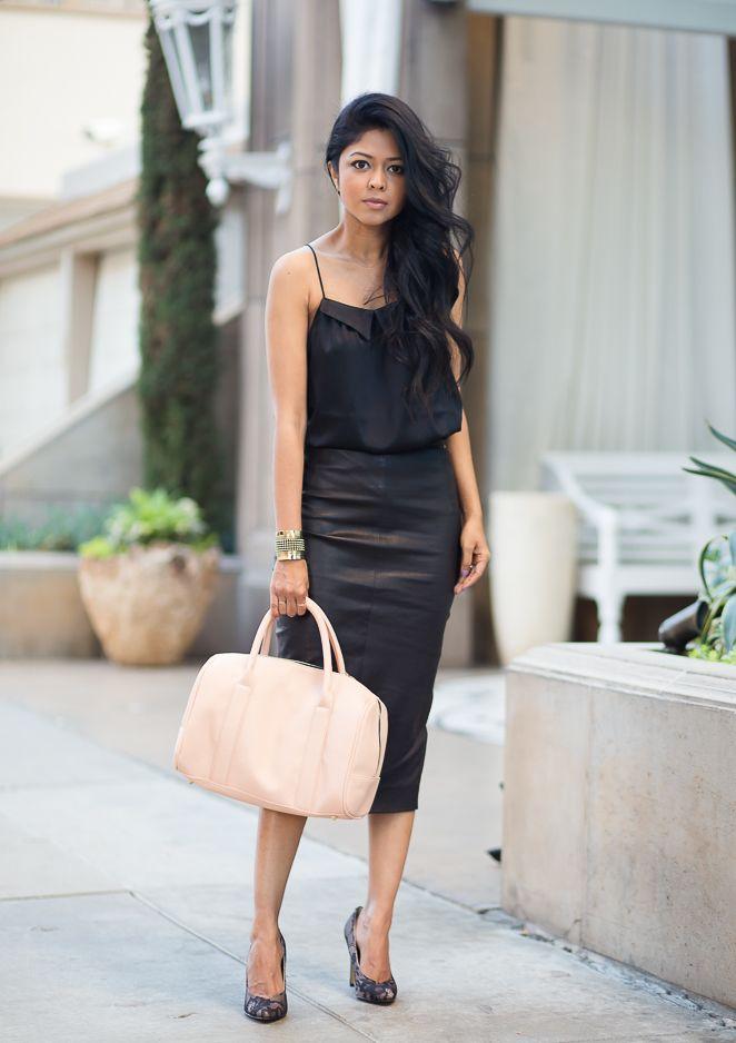 walk in black silk cami black leather pencil