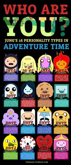 "Several of my followers asked for an Adventure Time chart, and I was like, ""schmow-zow, dudes! That's totally my thing!"" Full-Sized ChartTake the Official MBTI TestTake a Free Unofficial MBTI TestOther Fandom MBTI Charts"