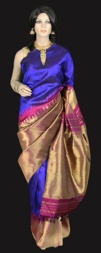Brilliant Blue Kanjeevaram Saree